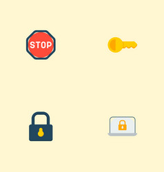 Set of procuring icons flat style symbols with key vector