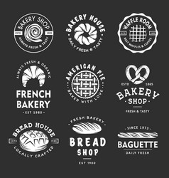 set vintage style bakery shop labels badges vector image