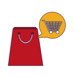 shopping bag with cart bubble blue lines vector image
