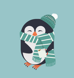smiling penguin with coffee vector image