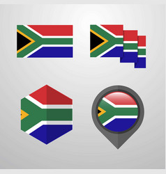 south africa flag design set vector image