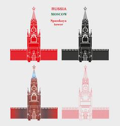 Spasskaya tower moscow kremlin in four vector