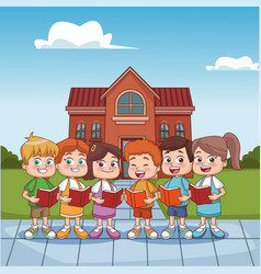 Students kids outside school building vector