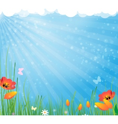 Sun and flowers vector