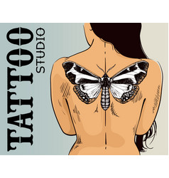 Tattoo studio banner woman with butterfly tattoo vector