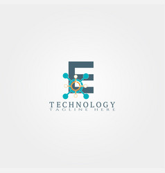technology icon template with e letter creative vector image