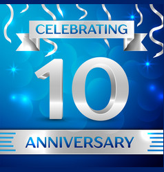 Ten years anniversary celebration design confetti vector
