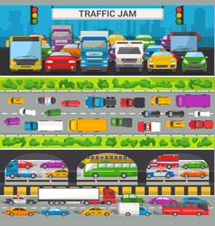 traffic jam transport car vehicle and bus vector image