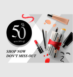 Trendy cosmetic products ads beauty sale vector