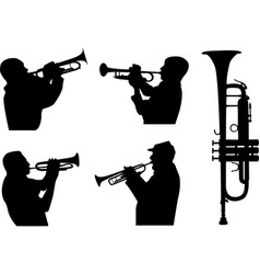 trumpeters silhouettes vector image
