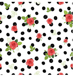 Vintage red black and white roses and vector