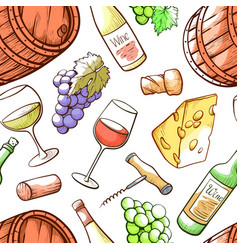 wine hand drawn color seamless pattern vector image