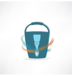 bucket with brush icon vector image vector image