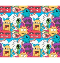 Doodle monsters seamless pattern in bright colors vector image