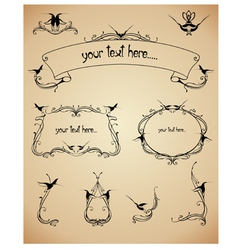 frames and calligraphic elements set vector image