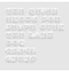 Geometric cutout white font vector image
