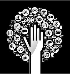 Global social media hand tree vector image vector image