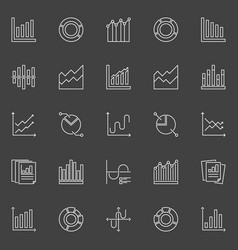 graph and chart icons vector image vector image