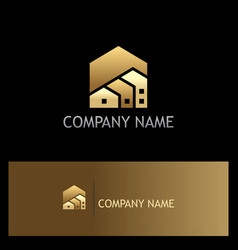 house realty shape gold logo vector image vector image