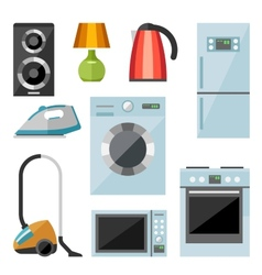 Set of household appliances flat icons vector image