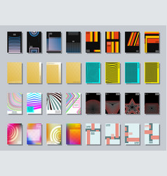 set of trendy various geometric cover brochure vector image vector image