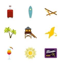 City miami icons set flat style vector