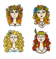 four season girls sketch for your design vector image vector image