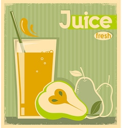 fresh pear juice on old paper vintage card vector image vector image