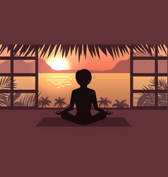 woman meditating in pose lotus sunrise or sunset vector image