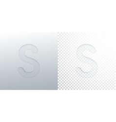 3d paper cut letter s isolated on transparent vector image