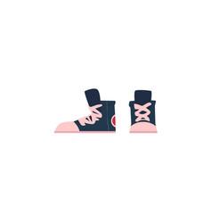 flat cartoon vintage retro sneakers vector image