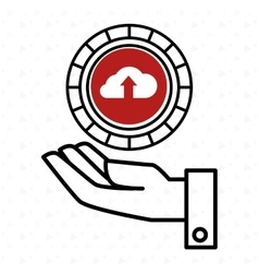 hand and cloud red isolated icon design vector image