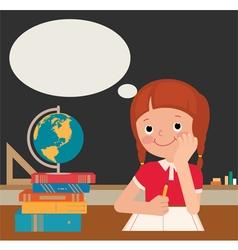 Schoolgirl sits at a school desk vector image vector image