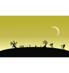 Silhouette of zombie in graveyards halloween vector