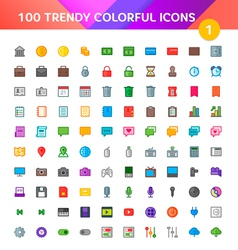 100 Universal Icons Set 1 vector image vector image