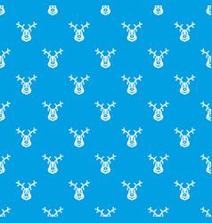 christmas deer pattern seamless blue vector image vector image