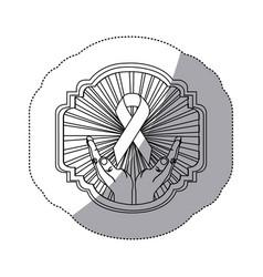 Figure emblem ornamental hands holding up breast vector