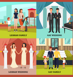 homosexual family concept icons set vector image
