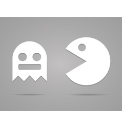 Paper Pacman ghosts 8bit retro game icons set EPS vector image