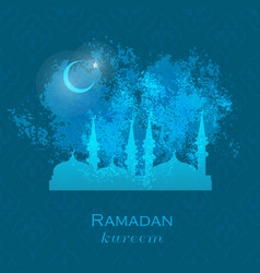 ramadan greetings card view of mosque in night vector image vector image