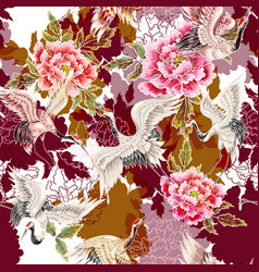seamless pattern with japanese white cranes vector image vector image