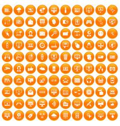 100 internet icons set orange vector
