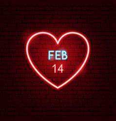 14 february heart neon label vector image