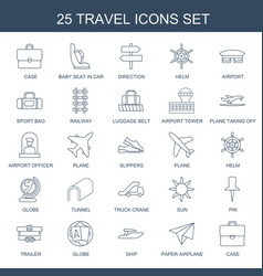 25 travel icons vector