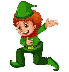 a boy wearing elf costume vector image