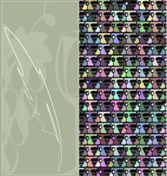 abstract image of figures wine and grape with pen vector image