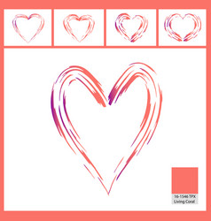 abstract paint brush pattern of hearts isolated on vector image