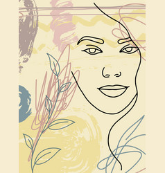 abstract woman face poster line minimalism 2 vector image