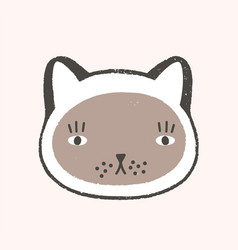 adorable face cat lovely cartoon muzzle of vector image