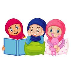 Arab muslim kids in sleeping traditional clothing vector